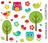 owls  birds  flowers ... | Shutterstock . vector #110239724
