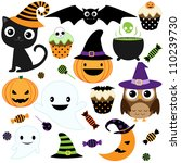 set of cute halloween elements  ... | Shutterstock . vector #110239730
