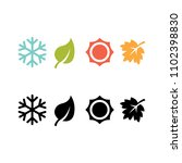 set four seasons icon  | Shutterstock .eps vector #1102398830