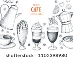 coffee cups  beans and coffee... | Shutterstock .eps vector #1102398980