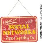 vintage social networks sign ... | Shutterstock .eps vector #110240153