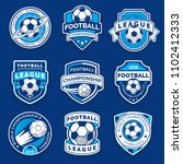 set of nine football badges.... | Shutterstock .eps vector #1102412333