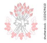 bouquet of roses | Shutterstock .eps vector #1102429610