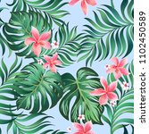 tropical vector background with ... | Shutterstock .eps vector #1102450589