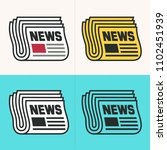 vector set icon newspaper....   Shutterstock .eps vector #1102451939