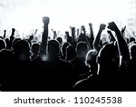 cheering crowd in front of... | Shutterstock . vector #110245538