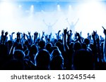 cheering crowd in front of... | Shutterstock . vector #110245544