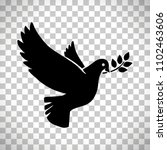 flying dove with olive twig...   Shutterstock . vector #1102463606