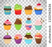 delicious cupcakes and... | Shutterstock . vector #1102463636