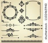 vintage set. floral elements... | Shutterstock .eps vector #1102465940