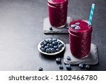 berry acai smoothie with fresh... | Shutterstock . vector #1102466780