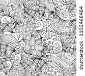 doodle floral background with... | Shutterstock . vector #1102468484