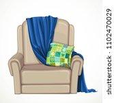 beige comfortable armchair with ... | Shutterstock .eps vector #1102470029