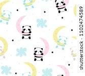 Stock vector cute little panda sleep on the moon seamless pattern vector hand drawn illustration 1102474589