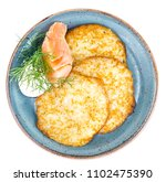 potato pancakes with cheese and ...   Shutterstock . vector #1102475390