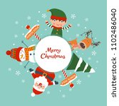 christmas card with elf  santa  ... | Shutterstock .eps vector #1102486040