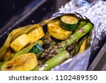 asparagus and squash green... | Shutterstock . vector #1102489550
