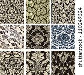 Set damask wallpapers - stock vector