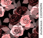 seamless pattern with roses.... | Shutterstock .eps vector #1102496096
