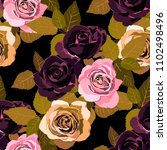 seamless pattern with roses.... | Shutterstock .eps vector #1102498496