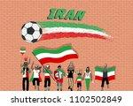 iranian football fans cheering... | Shutterstock .eps vector #1102502849