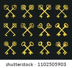 old key set isolated on black... | Shutterstock . vector #1102505903