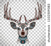 colorful head of deer with... | Shutterstock . vector #1102509383