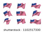 Set Of Us Flags Waving In The...