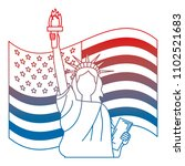 liberty statue with usa flag | Shutterstock .eps vector #1102521683