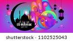 eid mubarak greeting card... | Shutterstock .eps vector #1102525043