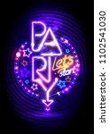 neon lights party poster design | Shutterstock .eps vector #1102541030