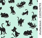 Stock vector vector seamless pattern of hand drawn black cats 1102543793
