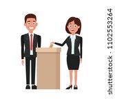 politicians voting cartoon | Shutterstock .eps vector #1102553264
