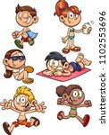cartoon kids ready for summer.... | Shutterstock .eps vector #1102553696