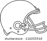 line drawing illustration american football helmet stock vector