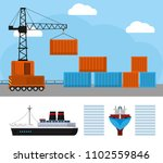 maritime shipping and logistics | Shutterstock .eps vector #1102559846