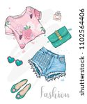 summer fashionable outfit.... | Shutterstock .eps vector #1102564406