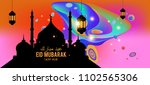 eid mubarak greeting card... | Shutterstock .eps vector #1102565306