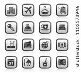 hotel  motel and travel icons   ... | Shutterstock .eps vector #1102573946