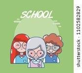 school teachers and students | Shutterstock .eps vector #1102582829