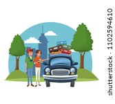 vacations on road cartoon | Shutterstock .eps vector #1102594610