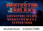 superhero font. metallic effect ... | Shutterstock .eps vector #1102617080