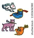 mascot icon illustration set of ... | Shutterstock .eps vector #1102636580