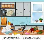 a messy and unsanitary kitchen... | Shutterstock .eps vector #1102639100