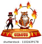 a tiger circus show on white...   Shutterstock .eps vector #1102639178