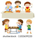 a set of children eating... | Shutterstock .eps vector #1102639220