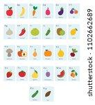 set of vegetable and fruit... | Shutterstock .eps vector #1102662689