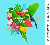 illustration of summer time... | Shutterstock .eps vector #1102664309