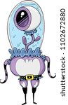 a cute cartoon of a strange... | Shutterstock .eps vector #1102672880