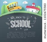 paper art of school bus running ...   Shutterstock .eps vector #1102675583